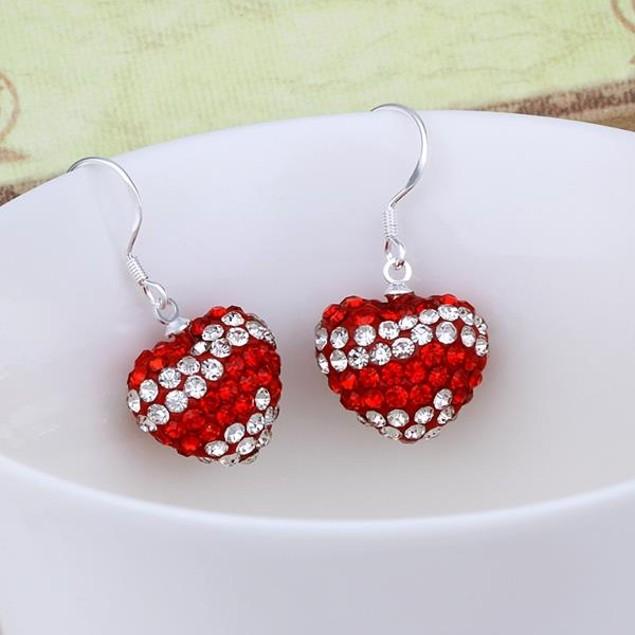 Austrian Stone Pave Heart Drop Earrings - Red
