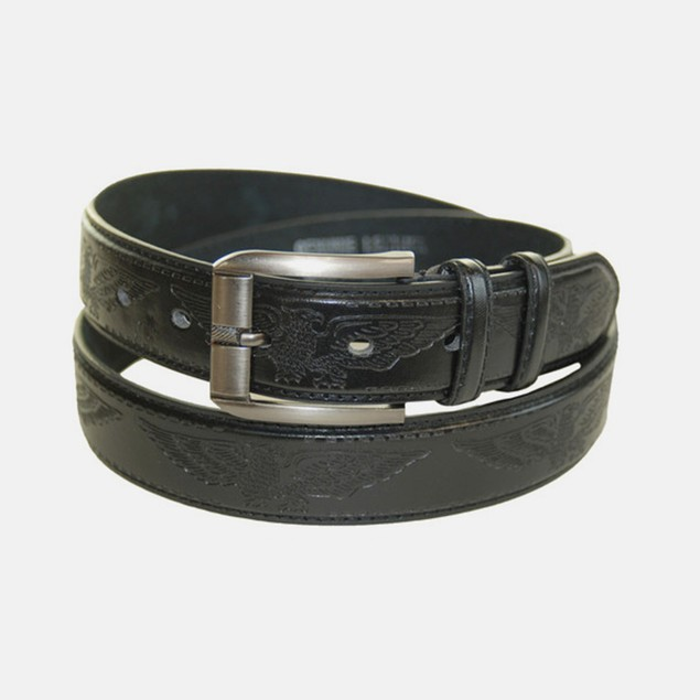 Men's Casual Black Eagle Leather Belt