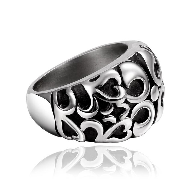 Abstract Quads Design Stainless Steel Ring