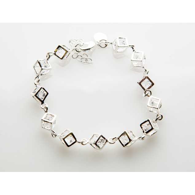"Crystal in Cube Bracelet - 7"" Long, Adjustable"