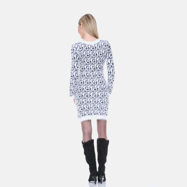 White Mark Black Leopard Sweater Dress
