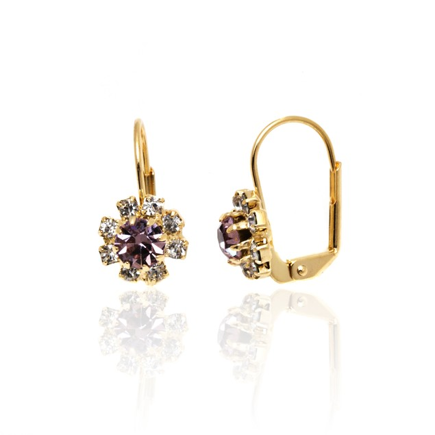 Amethyst and White Crystal Flower Huggie Earrings