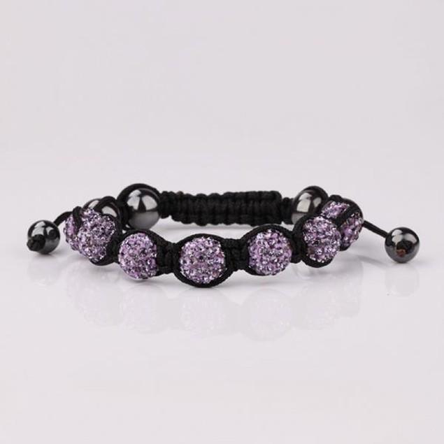 80's Glam Six Beads Austrian Crystal Bracelet - Bright Lavender