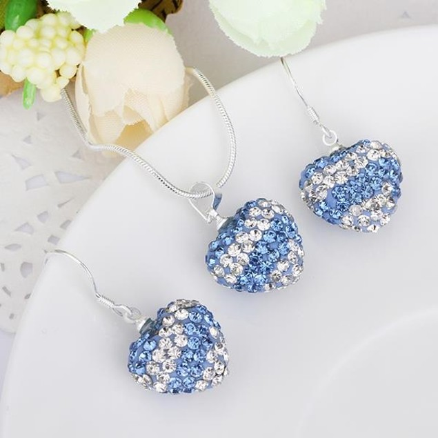 Multi-Pave Heart Drop Earring and Necklace Set - Baby Blue Stripe