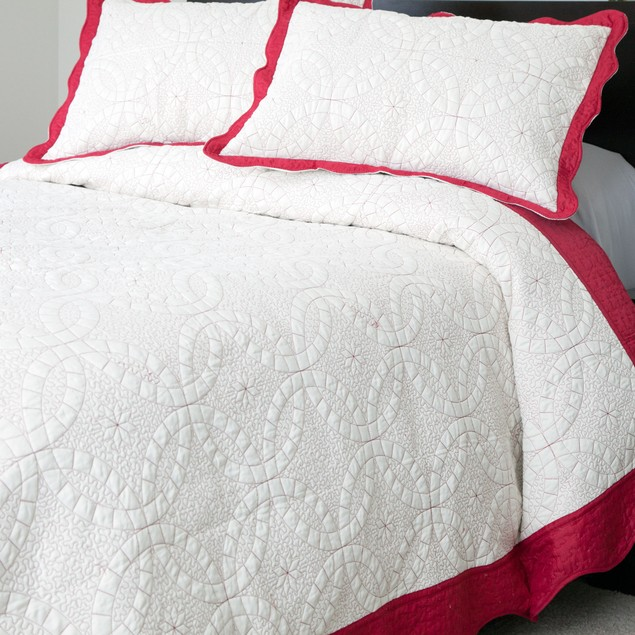 Lavish Home Lydia Embroidered Quilt 3 Pc. Set