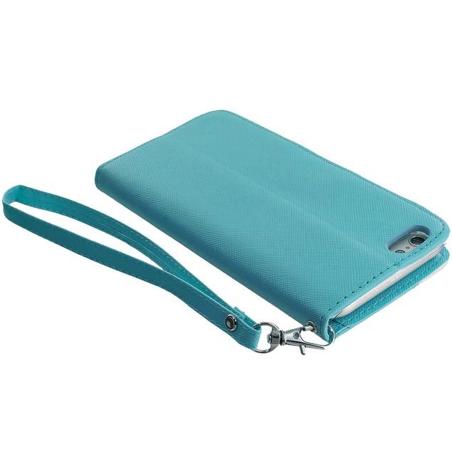 Apple iPhone 6 Plus (5.5) Wallet Pouch Metal Flap Case Cover