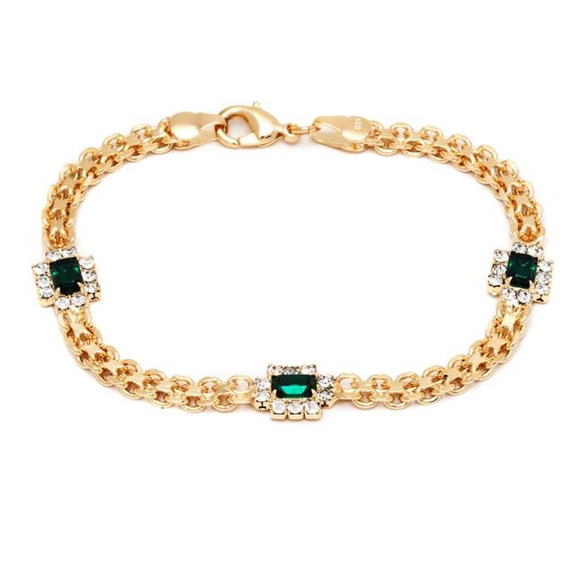 Gold & Emerald Crystal Bracelet