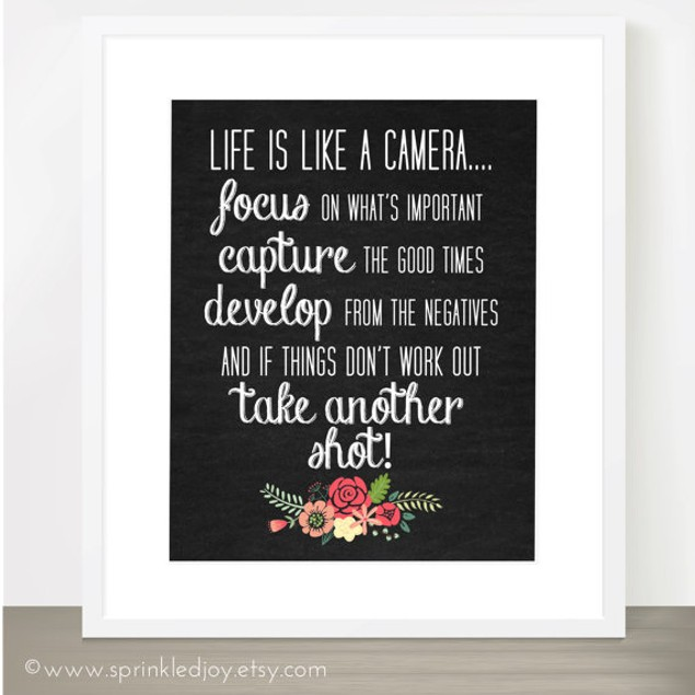 Life Is Like A Camera Floral Print