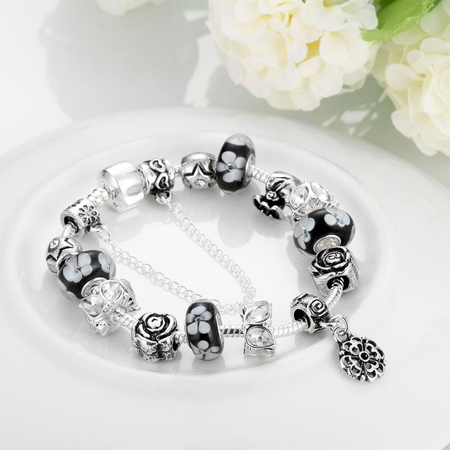 Dark Floral Night Designer Inspired Bracelet
