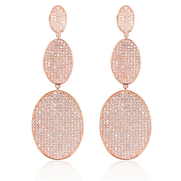 Rose Gold Plated Sterling Silver Tiered Earrings