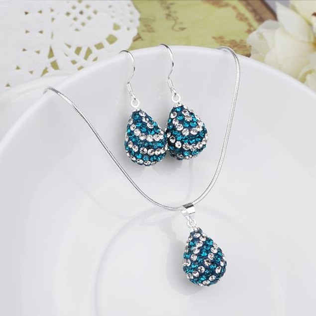 Austrian Stone Multi-Pave Pear Earring and Necklace Set - Butterfly Blue