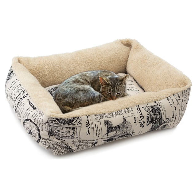 OxGord Plush Fleece 1800's Newspaper Print Pet Bed