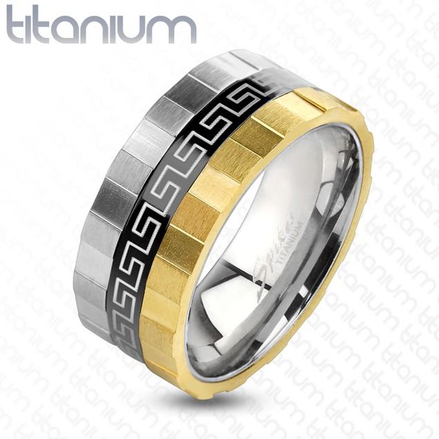 Grooved Edge 3 Toned Maze Design Solid Titanium Ring