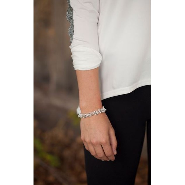 "Silver Beaded Bracelet - 8"""