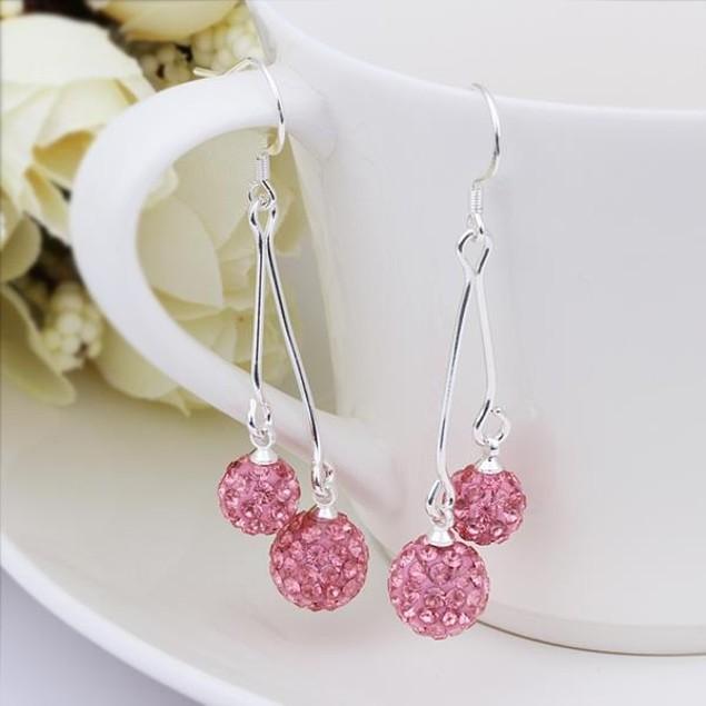 Austrian Stone Drop Earrings -Bright Coral