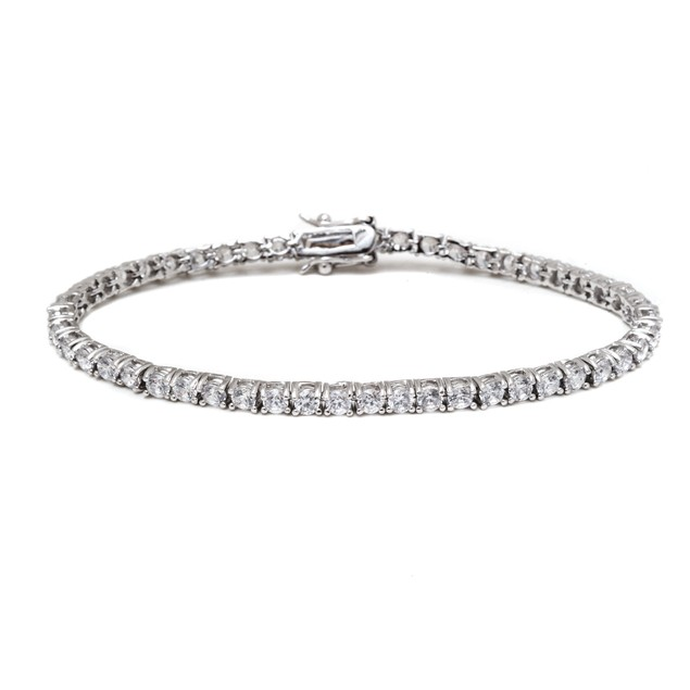 Silver & Crystal Round Tennis Bracelet