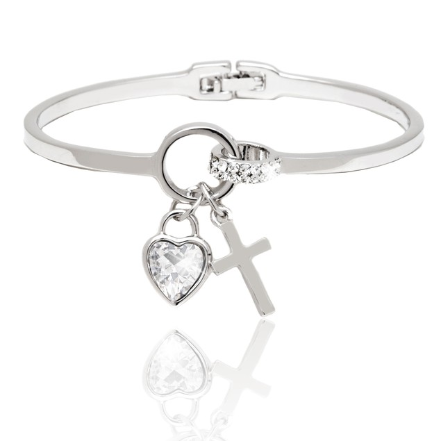 Silver and White Crystal Elements Heart and Cross Charm Cuff