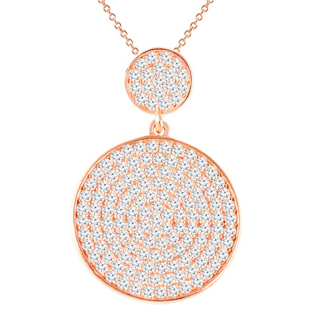 18K Rose Gold Simulated Diamond Round Pave Necklace