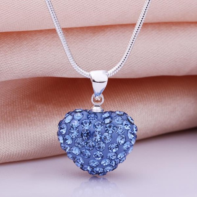 Solid Austrian Stone Heart Shaped Necklace - Blue