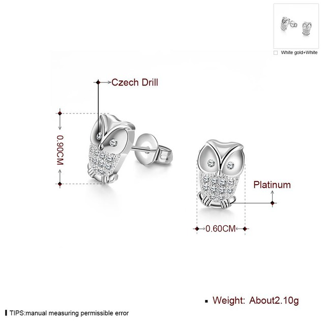 White Gold Plated & Crystal Owl Stud Earrings