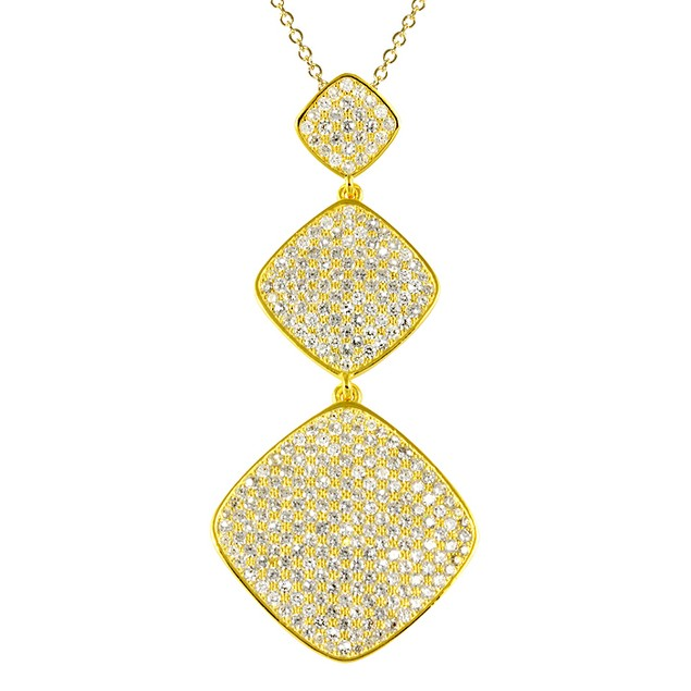 18K Gold Plated Triple Tier Micro Pave Square Necklace