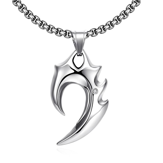 Alpha Steel Stainless Steel Blade Emblem Stainless Steel Necklace