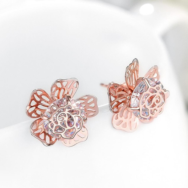 Gold Plated Floral Galore Studded Earrings