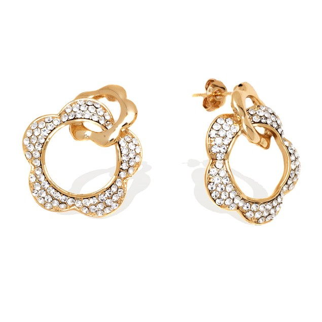 18K Gold Plated Gold and Swarovski Elements Double Flower Earrings