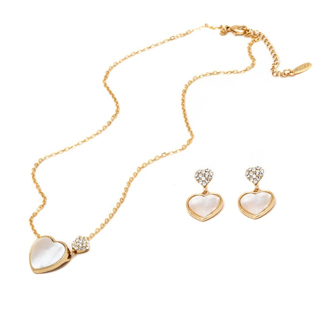 Gold Heart Earrings and Necklace Set