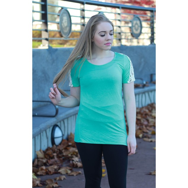 Crochet Sleeve Tees - 5 Colors