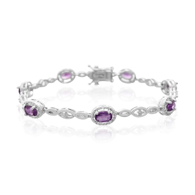 Amethyst and Halo Diamond Bracelet