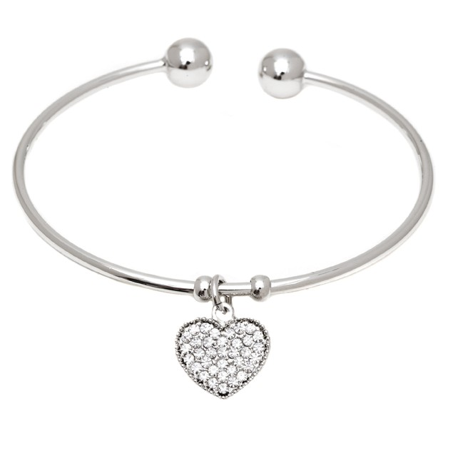 Silver and Crystal Elements Heart Charm Cuff
