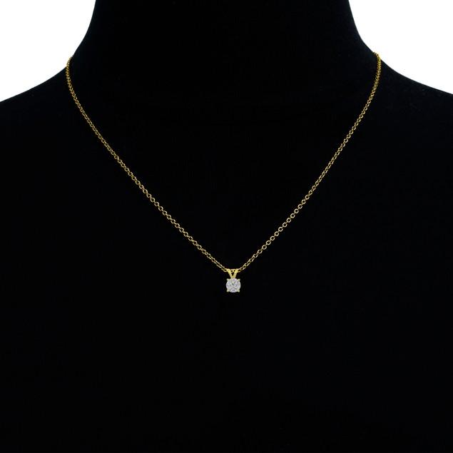 14k Gold 1/3 Carat Genuine Diamond Solitaire Necklace