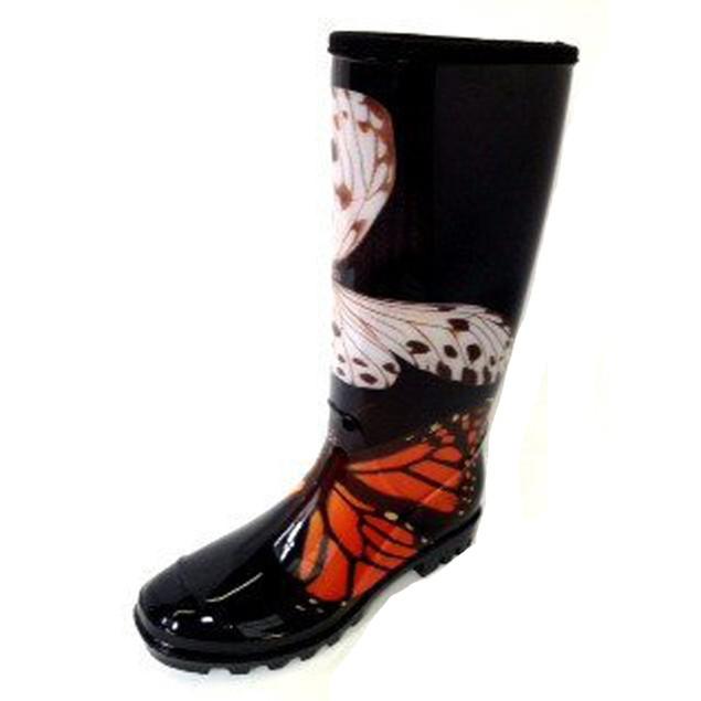 Henry Ferrera Women's Rain Boots - Black Butterfly Print