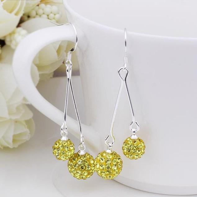 Austrian Stone Drop Earrings -Yellow Citrine