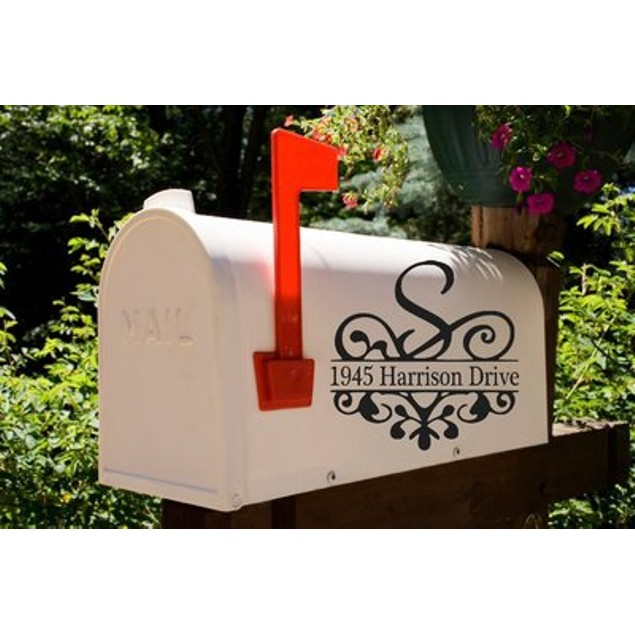Initial Scroll Mailbox Decal