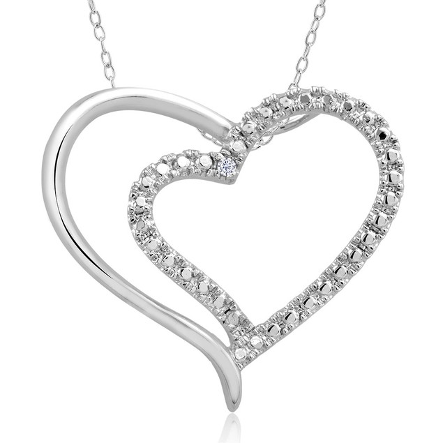 .10 Ct Diamond Accent Heart Necklace - Double Heart