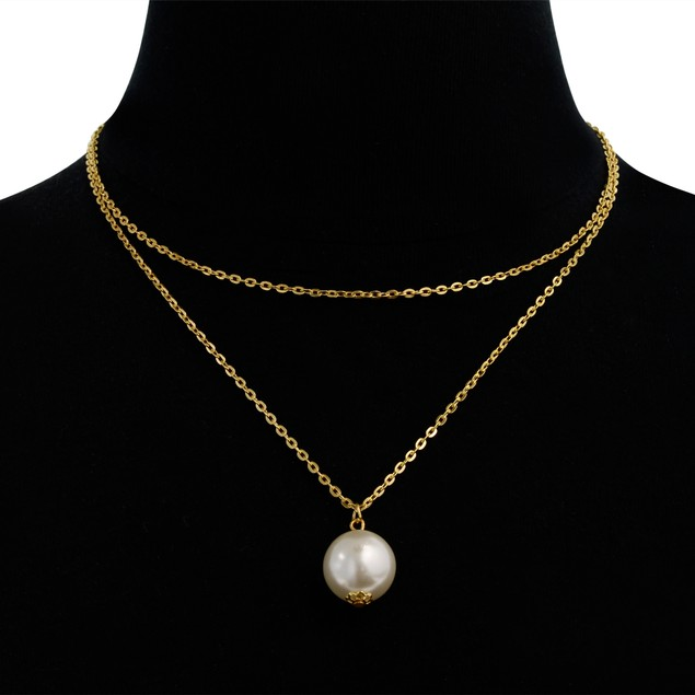 Imitation Pearl Solitaire Pendant Necklace, 30 Inches