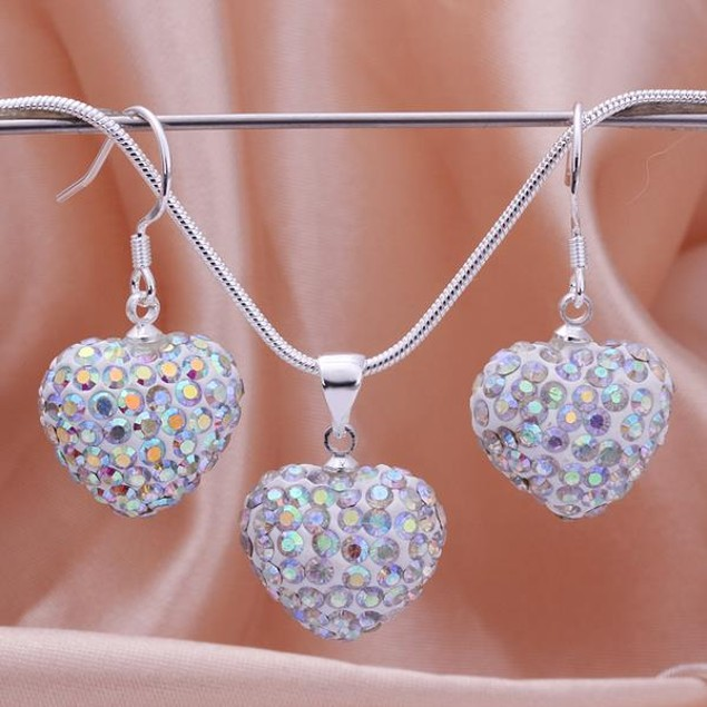 Austrian Stone Solid-Pave Heart Earring and Necklace Set - Rainbow Crystal