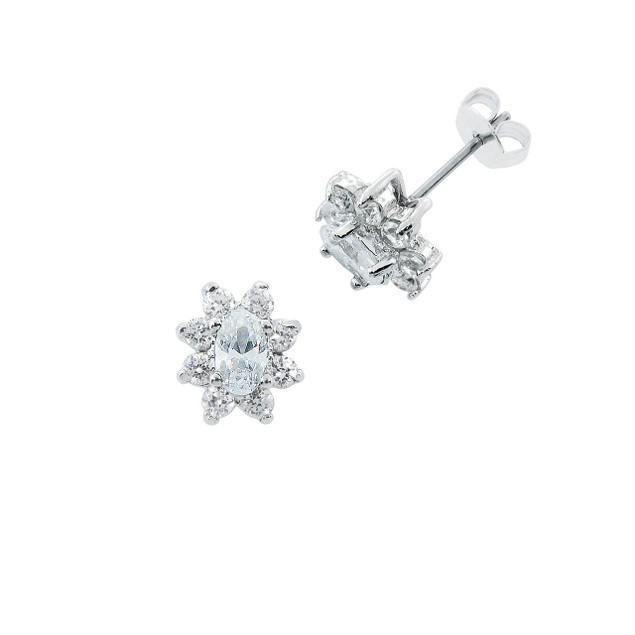 Diamond Simulant Oval Burst Stud Earrings - 1.6ct - Clear