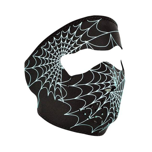 Glow in the Dark Spiderweb Neoprene Full Face Mask