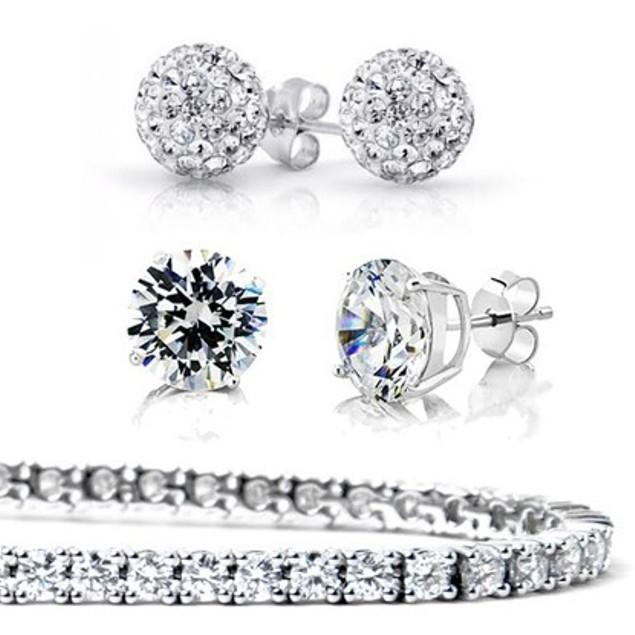 3-Pack Sterling Silver Earrings and Bracelet Set