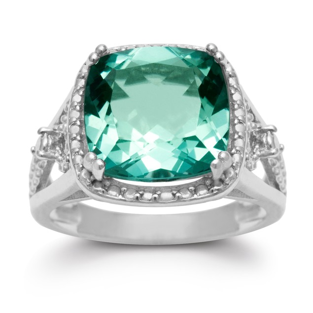 5 Ct Halo Style Green Amethyst Ring