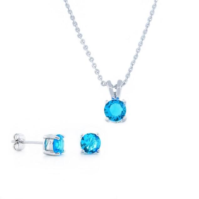 4.3 Carat Diamond Simulant Pendant and Stud Set - Aquamarine Colored