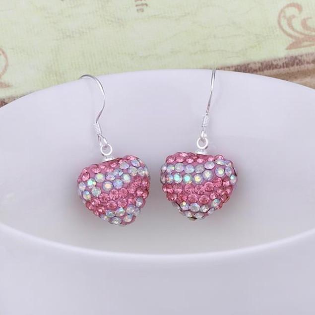 Austrian Stone Pave Heart Drop Earrings - Vivid Sharp Coral
