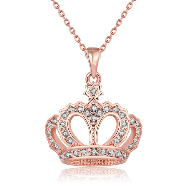 Rose Gold Plated Swag Crown Necklace
