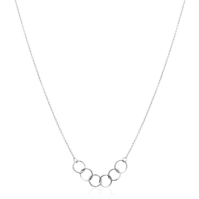 Silver Tone Interlocking Ring Necklace