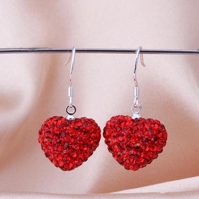 Heart Shaped Solid Austrian Stone Drop Earrings - Bright Red