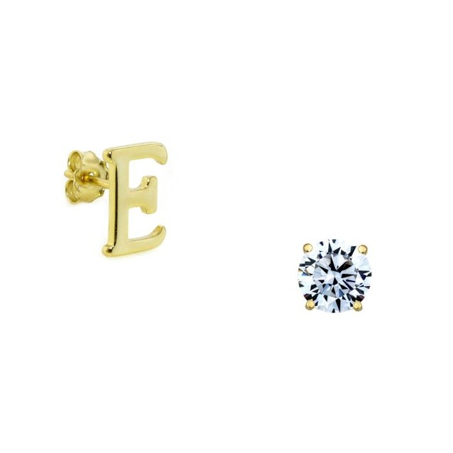 14K Gold Plated Initial Stud Earrings