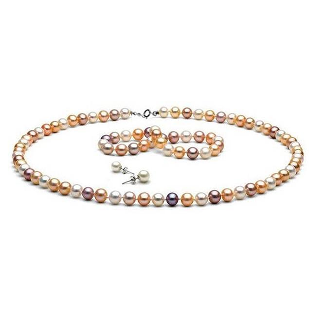 Genuine Multi Pink Freshwater Cultured Pearl Set